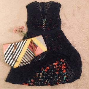 Floral Navy Blue Crocheted Layered Dress💕